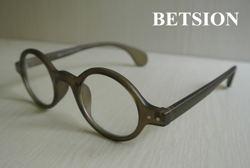 BETSION 42.70mm Vintage Round Man Women Eyeglass Frame Glass Clear Lens Rx able