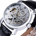 WINNER Women Fashion Elegant Dress Mechanical Wrist Watch Leather Strap Roman Number Hollowed Dial Floral Pattern