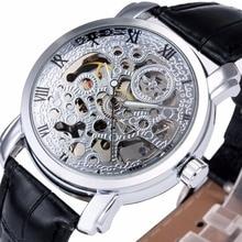 WINNER Women Fashion Elegant Dress Mechanical Wrist Watch Leather Strap Roman Number Hollowed Dial Floral Pattern