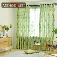 Green Flower Curtain For Living Room Simple Leaves Tulle Curtains for Bedroom Kids Customized Cotton Linen Window 215