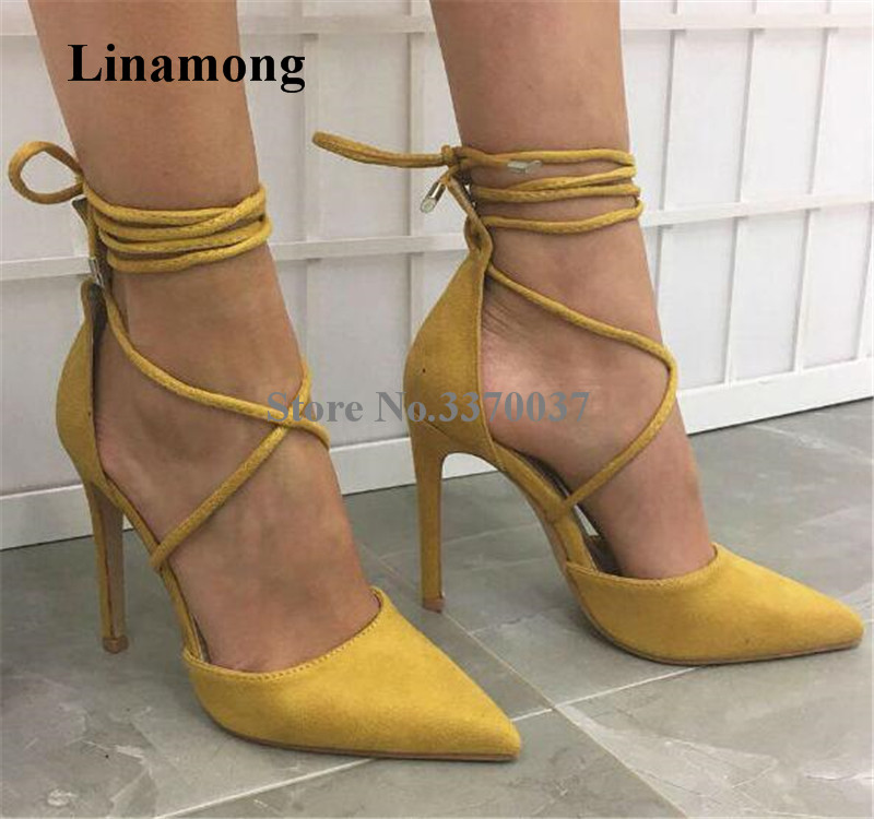 Classical Style Women Fashion Pointed Toe Suede Leather Stiletto Heel Pumps Yellow Lace-up High Heels Formal Dress Shoes