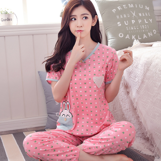 c00fef2dd5 100% Cottom women summer short sleeve sleepwear Cute cartoon bunny princess  pyjamas lounge nightwear plus size M-XXXL homewear