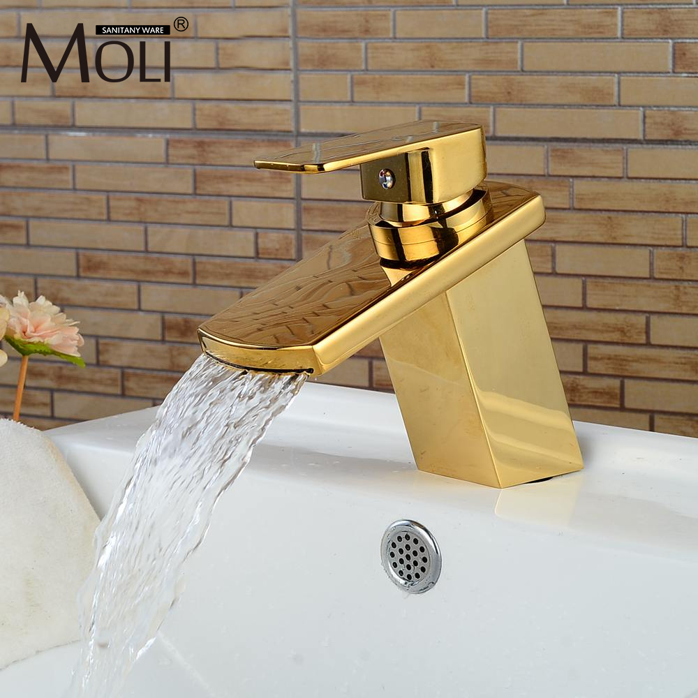 Luxury Gold Bathroom Sink Faucet Waterfall Basin Mixer Tap Hot and Cold Water Tall Faucets new bathroom wash basin sink faucet waterfall flow lavatory hot cold washing tap tree629