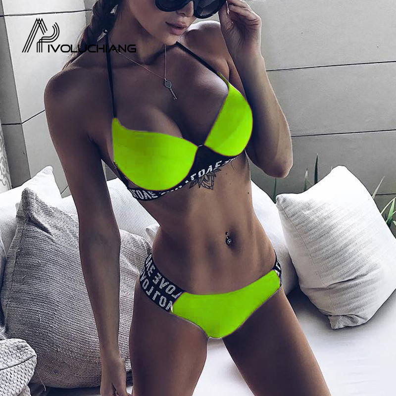 Love Letter Printed Wired Push Up Bikini Swimsuit Women Swimwear Two Pieces Bathing Suits 2019 Summer