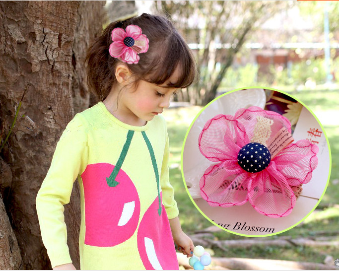 Hand Made.6 Colors Available. Elastic Hair Band/Hair Clips with big Flower made of Net Yarn.Hair Accessories for Girl.