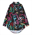 Free Shipping 2015 lazy oaf multicolour lines colorful flowers doodle long-sleeve irregular woman shirt