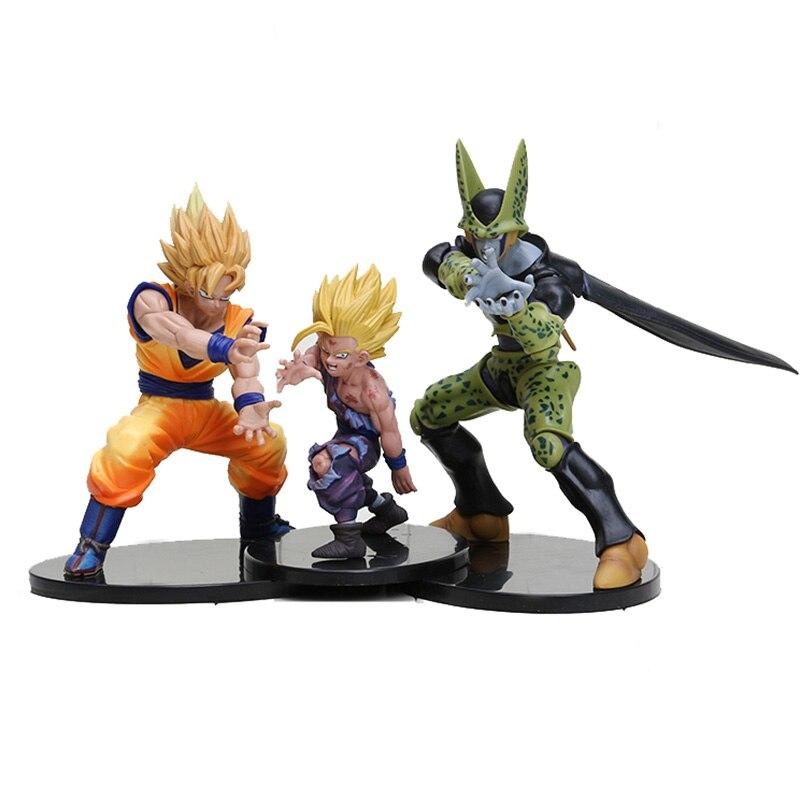 3 pcs/ensemble 12-17 cm Dragon Ball Z Vitrine Spectaculaire Super Saiyan Goku Son Gohan Cellulaire PVC Chiffres modèle Poupées Jouets