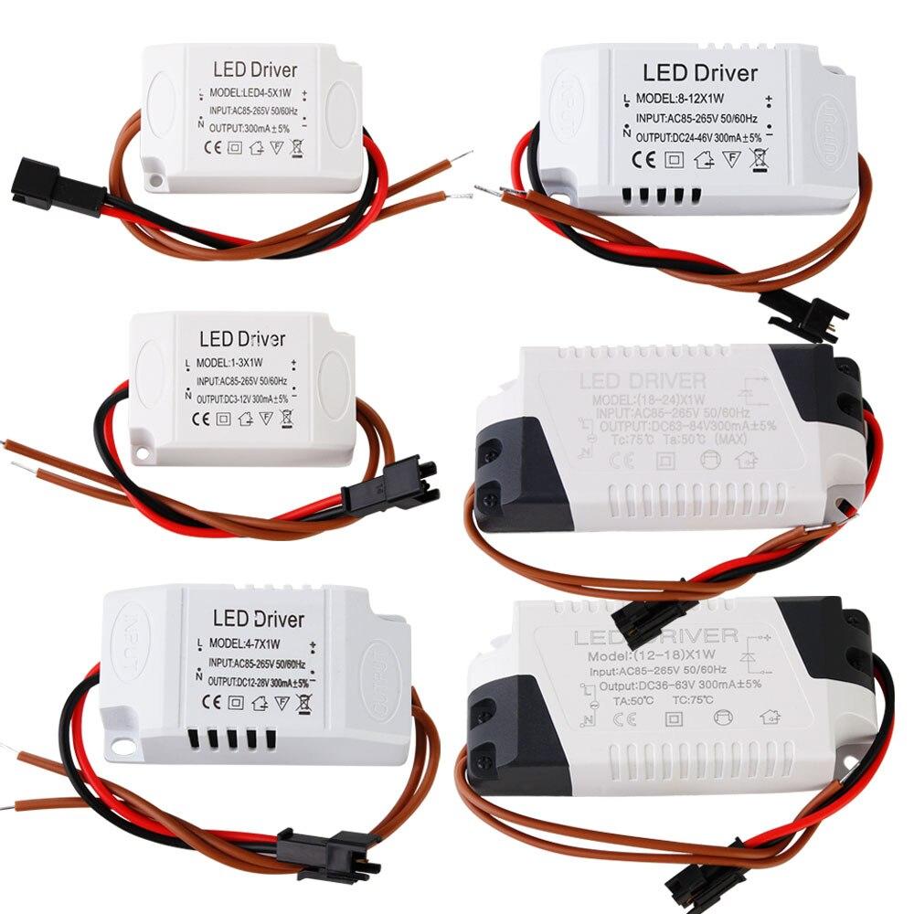 1 pcs led 일정한 드라이버 1-3 w 4-5 w 4-7 w 8-12 w 18-24 w 300ma 전원 공급 장치 조명 트랜스 포 머 led 통 조명 AC85-265V