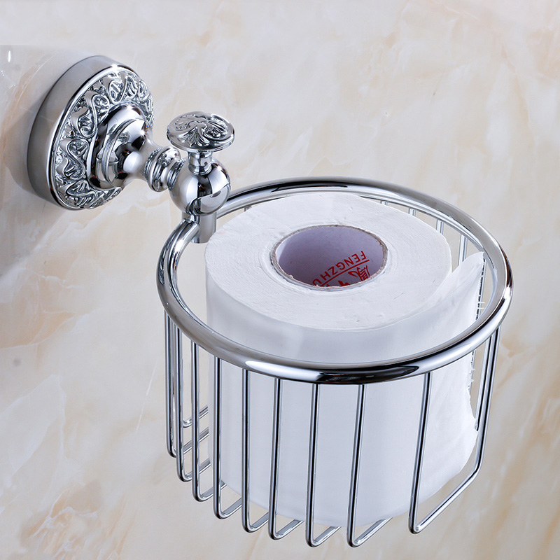 Free Shipping Chrome Polished Wall mounted Flower Carved Toilet Paper Holder free shipping high quality bathroom toilet paper holder wall mounted polished chrome