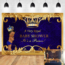 NeoBack Royal Prince Baby Shower Backdrop Black Boy Gold Crown Blue Photography Background