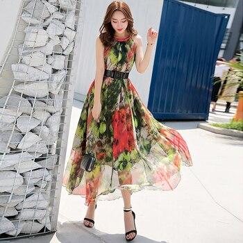 Длинное платье без рукавов, легкое, комфортное, с цветочным принтом, в богемном стиле, для летнего отдыха, 2019