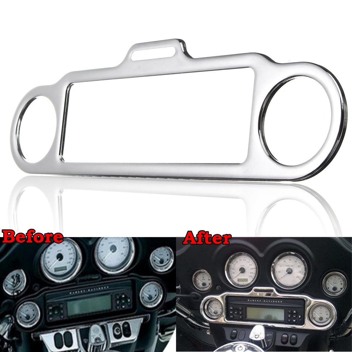 Chrome Stereo Accent Trim Ring Cover For Harley-Davidson Electra Street Glide Touring