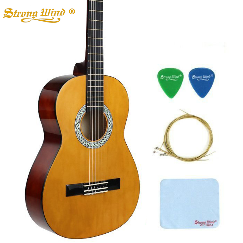 Strong Wind Classical Acoustic Guitar 4/4 Size 39 Inch 6 Nylon Strings Basswood Guitar For Beginner Kids Unisex Semi-closed Knob alice classical guitar strings titanium nylon silver plated 85 15 bronze wound 028 0285 inch ac139
