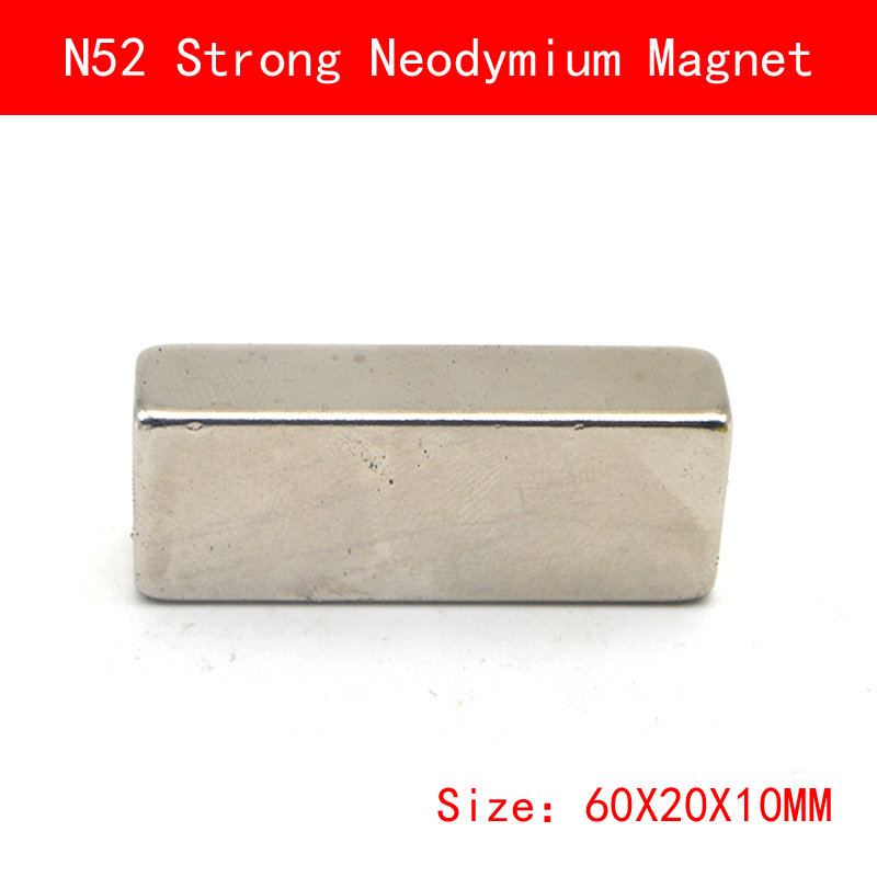 N52 60x20x10MM Magnets Block Neodymium N52 Disc Rare Earth Super Strong Fridge Magnet 60*20*10mm shipping with tracking 2015 20pcs n42 super strong block square rare earth neodymium magnets 10 x 5 x 1mm magnet wholesale price