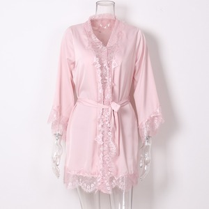 Image 5 - Sexy Eyelash Lace Robes Women Bathrobe Home Sleep Wear Faux Silk Nightwear Long Sleeve Negligees Home Clothing Black Pink