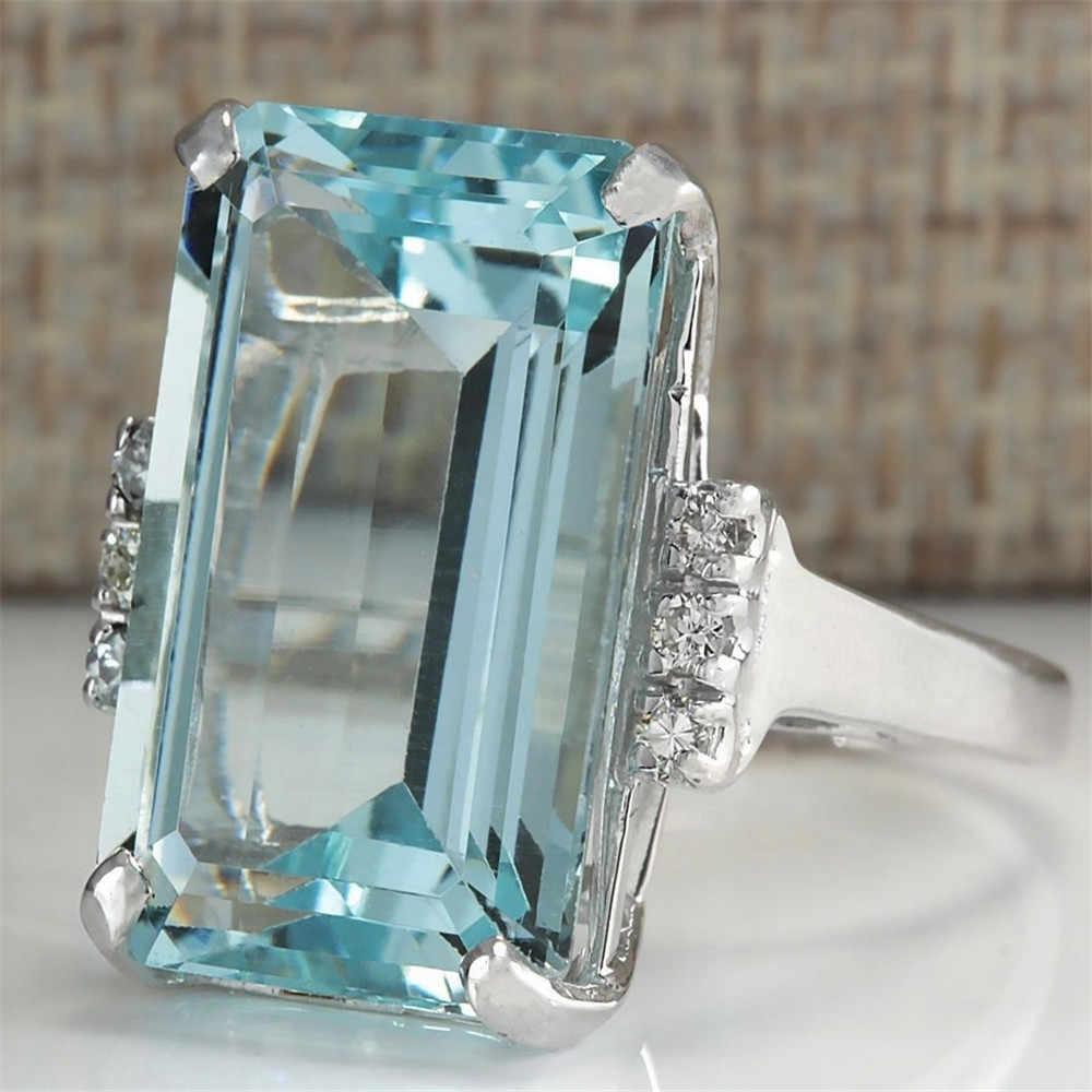 New Fashion Elegant Big Sea Blue Rhinestone Crystal Ring Women Lady Wedding Bride Party Rings Jewelry
