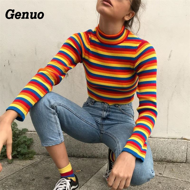 Genuo Knitted Sweaters Women Autumn Color Block Rainbow Striped Crop Tops Knitwear Long Sleeve Winter Pullover Streetwear Outfit in Pullovers from Women 39 s Clothing
