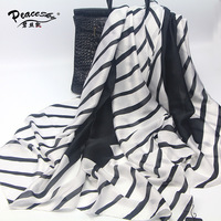 Hot Sale Luxury Brand Scarves Women Silk Scarf Beach Shawl And Echarpe Wrap Designer Black Beach