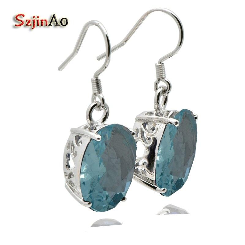 Szjinao Handmade 925 Silver Real Navy Aquamarine Earrings for Women Vintage Style Wedding Earrings Love Jewelry brincos 2017 серьги висячие vintage style pentacle earrings