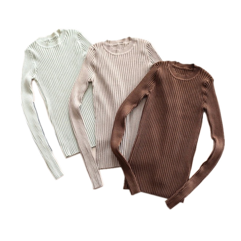 Women Sweater Pullover Basic Rib Knitted Cotton Tops Solid Crew Neck Essential Jumper Long Sleeve Sweaters With Thumb Hole(China)