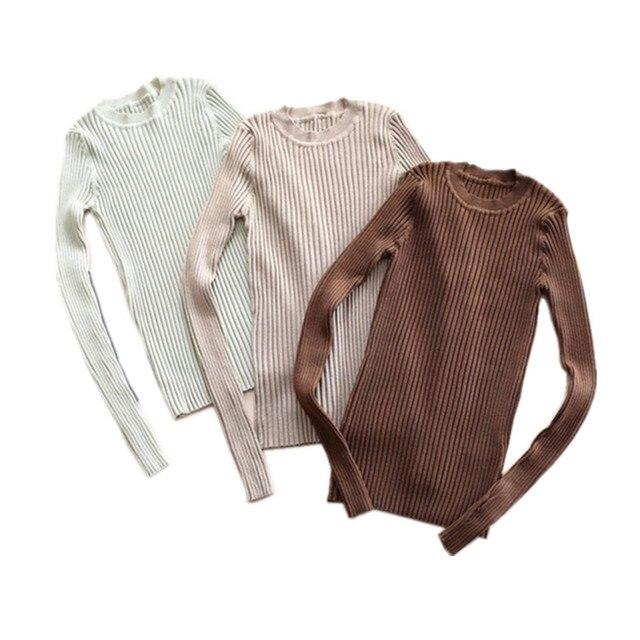 נשים סוודר סוודרים בסיסי צלעות סרוג כותנה חולצות Solid Crew צוואר חיוני מגשר ארוך שרוול סוודרים עם אגודל חור