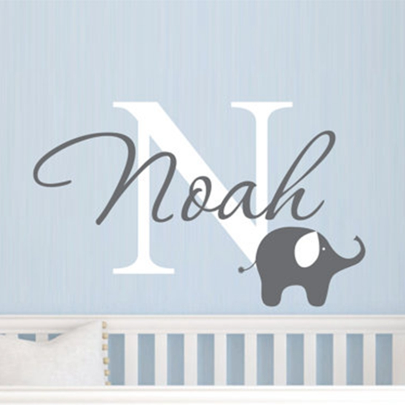Elephant with boys name wall decal - Custom Boys Name Vinyl Wall Sticker - Baby Nursery Wall Decal Elephant ,free shipping ...