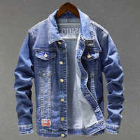 Vintage Men 's Denim Jackets Overcoats Male Jeans Coat Plus Size 5XL Big and Tall Men Denim Jacket Overcoats Outwear 2018 C1729