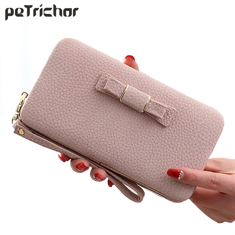 Lady Bow Women Long Clutch Wallets Phone Coin Pocket Female Money Purse Solid Ladies Wallet Girls Wrist Zipper Small Bag bentoy brand large clutch women wallets cartoon girls money purse short zipper coin purse clutch wallet cute cell phone case