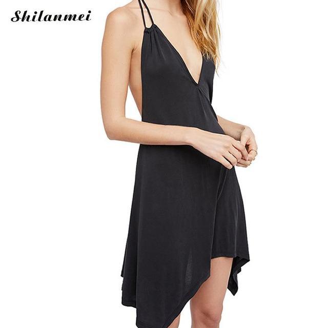 0166a18afde725 2018 Sexy Mini Dress Women Summer Hot Beach Tunic V Neck Soft Milk Silk  Robe Backless Short Party Dress Black Halter Sundress