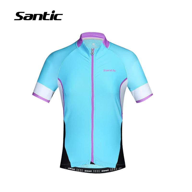 Santic Cycling Jersey Women Short Sleeve 100% Polyester Anti-sweat Bike Shirts Downhill MTB Bicicleta Ciclismo Bicycle Jersey santic men short sleeve cycling jersey breathable summer cycling clothing mtb road downhill bicycle bike jersey anti sweat