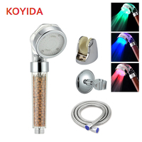 KOYIDA Shower Head Spa Anion Shower Filter Head Led Temperature Sensor Duchas 3 Colores ABS Bathroom Accessories Douchekop