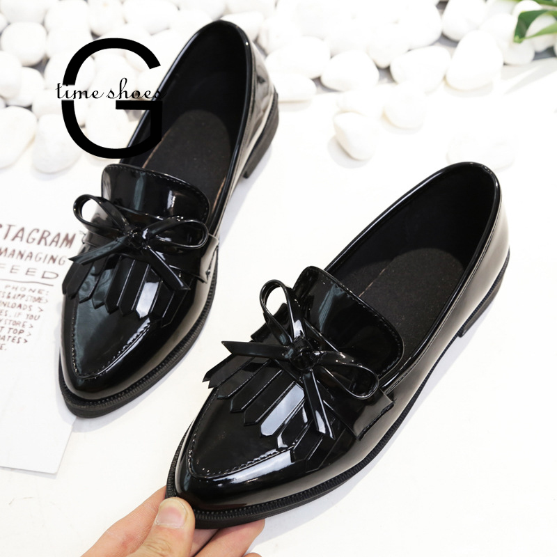 Dropshipping Woman Casual Tassel Bow Pointed Toe Black Oxford Shoes for Women Flats Comfortable Slip on Women Shoes SE570