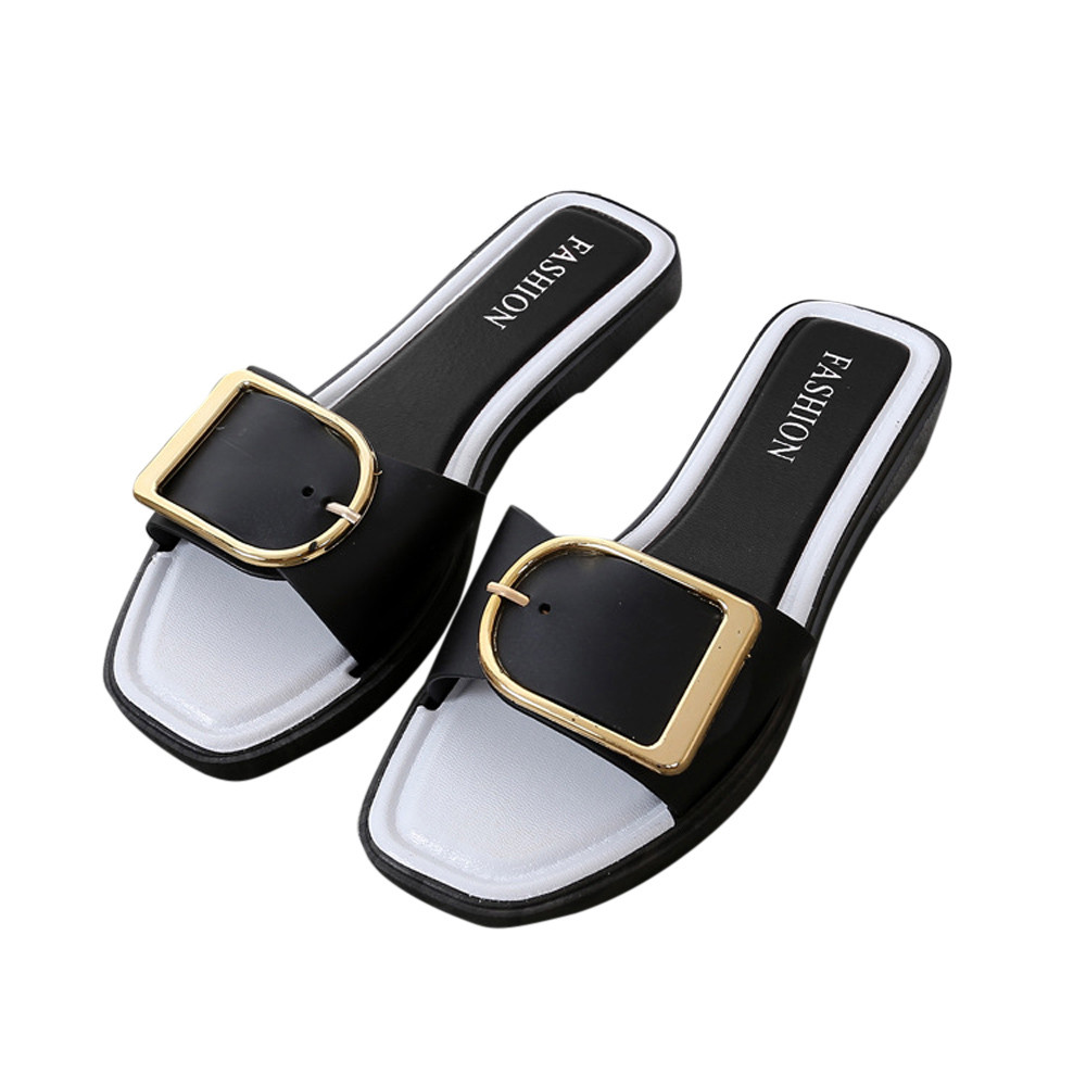 Sleeper #402 2019 NEW Fashion Women Summer Flat Heel Square Buckle Sandals Slipper Casual Shoes casual wear hot Free ShippingSleeper #402 2019 NEW Fashion Women Summer Flat Heel Square Buckle Sandals Slipper Casual Shoes casual wear hot Free Shipping