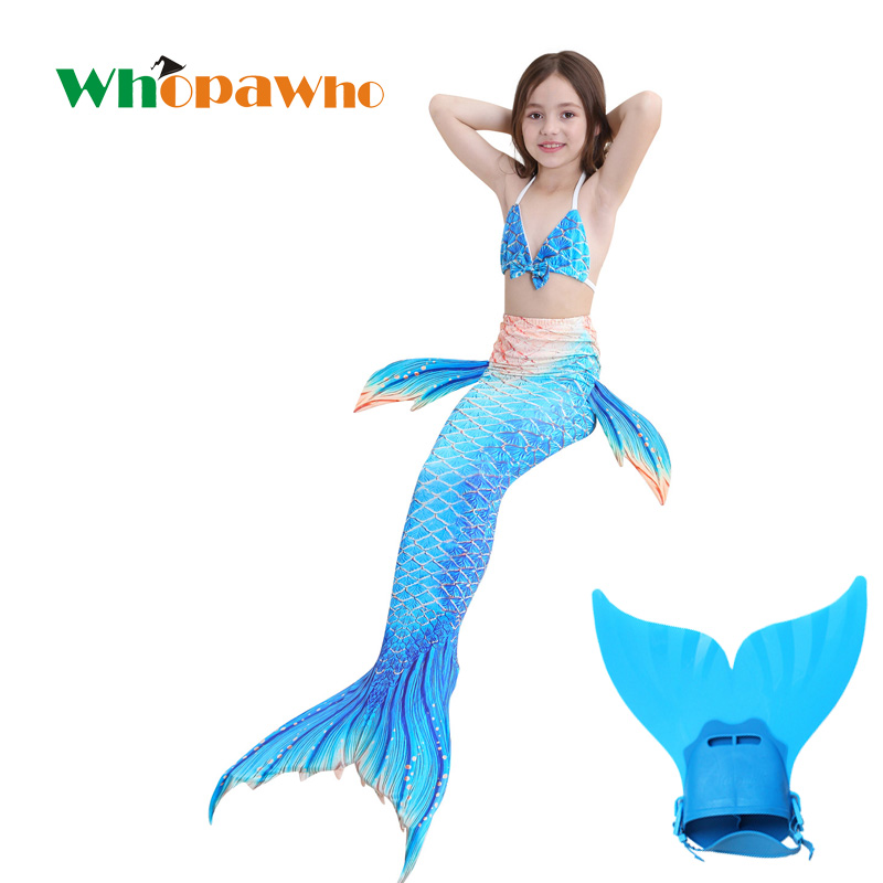 New 4pcs/set Best Swimmable Mermaid Tail With Flipper Summer Dress For Girls Swimming Monofin For Kids Swimsuit Costume