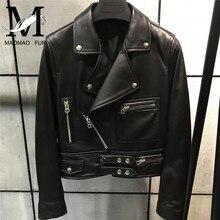 Fashion Women Genuine Sheep Leather Jacket Ladies Real Leather Coat Slim Full Sleeve Short Black Natural Lambskin Leather Jacket