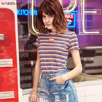 knitting Striped Embroidery Love Heart Hollow Out Short Sleeve T shirt Casual Female T Shirt Spring Summer Fashion Lady Tees