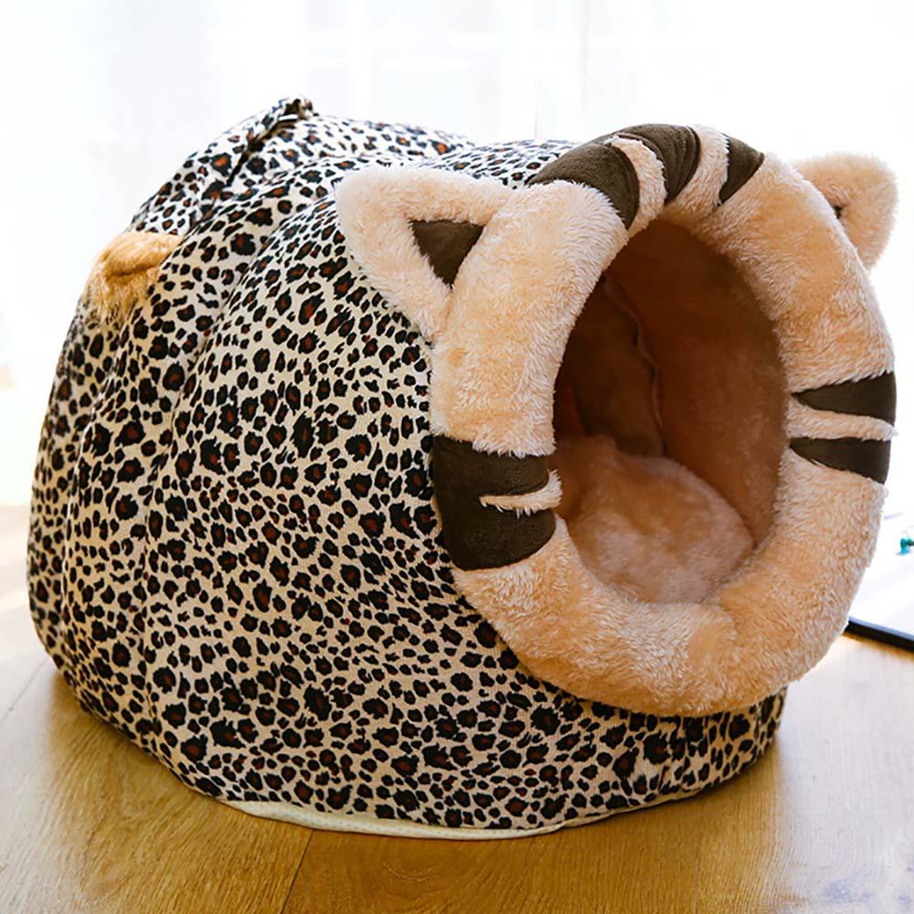 Lit maison dans une grotte pour petits chats   Tapis chauffant et doux, en forme danimal de dessin animé, lavable et chauffant, pour lhiver