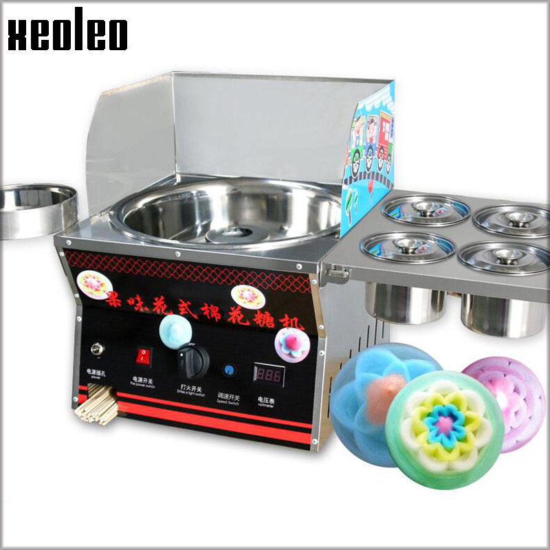 XEOLEO Gas Cotton candy machine with 4 Store Buckets Commercial Gas Color Candy Floss maker Stainless steel Fancy marshmallow fast food leisure fast food equipment stainless steel gas fryer 3l spanish churro maker machine