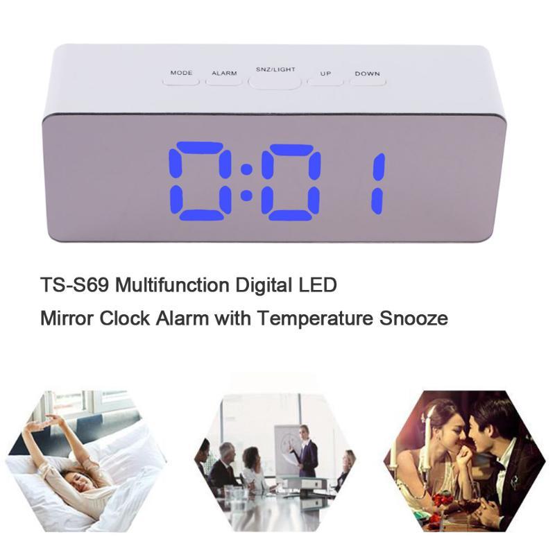 Multifunction Digital LED Snooze Alarm Clock Night Light Mirror Digital Display Alarm Clock Temperature Display Home Decor