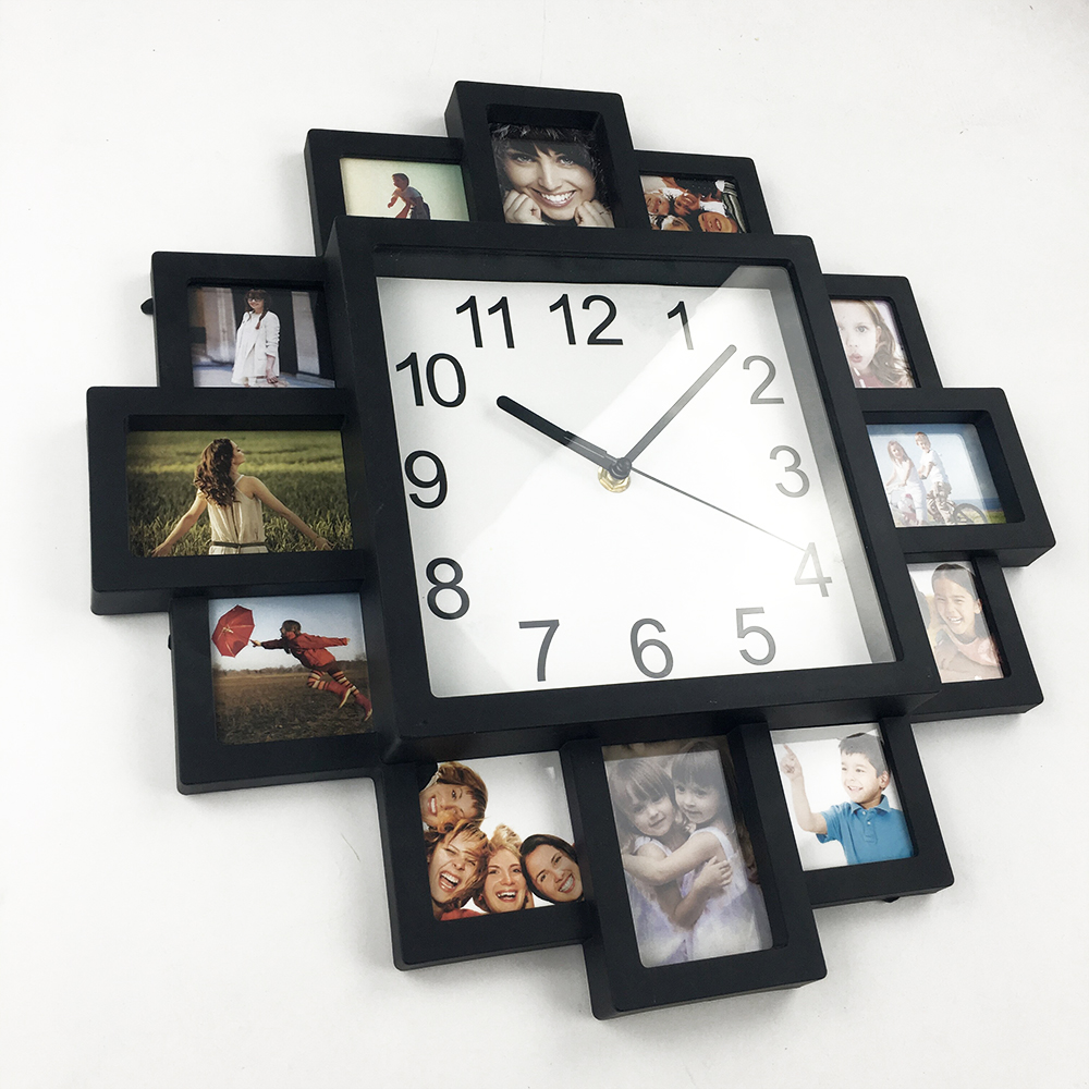2018 New DIY Wall Clock Modern Design DIY Photo Frame Clock Plastic Art  Pictures Clock Unique ...