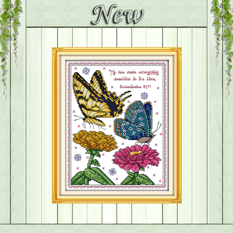 Butterflies and Flowers Counted Cross Stitch Kit Embroidery Needlework Set DIY