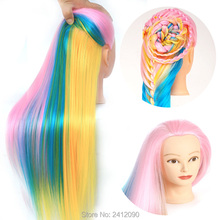 Colorful Hairdresser Mannequin Head 22'' Rainbow Yaki Hair Mannequins with Makeup Hairdressing Doll Wig Head Dummy Hairstyles