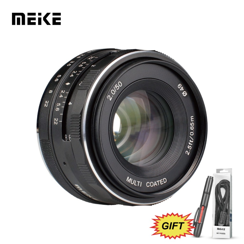 Meike MK-50mm F/2.0 Large Aperture Fixed Manual Focus Lens work for APS-C Nikon J1/J2/J3/J4/J5 V1/V2/v3/V4 cameras+Free Gift meke meike mk 35mm f1 7 large aperture manual focus lens for nikon1 v1 v2 v3 s1 s2 j1 j2 j3 j4 j5 cameras