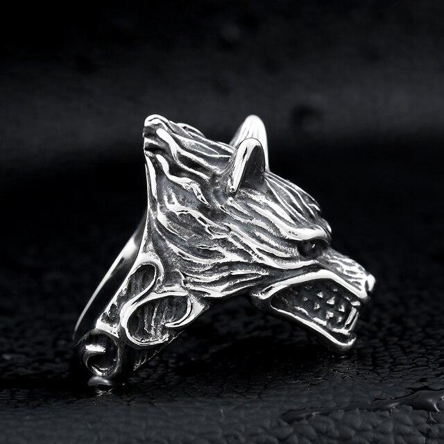 Beier 316L acier inoxydable nez viking loup tête animal pour homme Unique prix de gros bijoux LR160 5