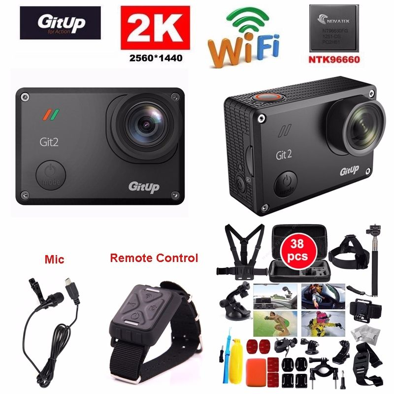 Gitup Git2 Pro 16MP 2K Sports DV Action Camera Gyro Mini Camcorder Mic Remote Control 38pcs