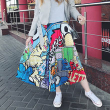 2019 Summer Women Midi Skirts Bottom Korean Fashion Ladies Cartoon Printed High Waist Pleated Skirt For Women Female(China)