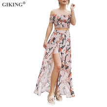 GIKING Women Two-piece Set Slash Neck Short Sleeve Tops Floral Print Split Maxi Chiffon Skirts Boho Summer Holiday Beach