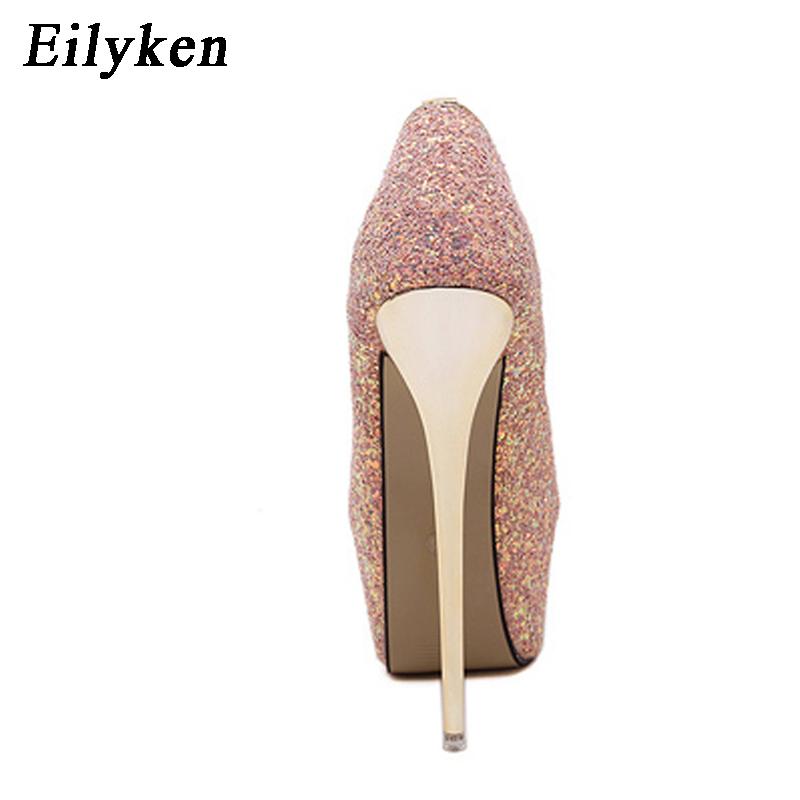 b9fdbd29048ec3 Eilyken 2018 New Platform Ultra High Heels Woman Shoes Sexy Bling ...