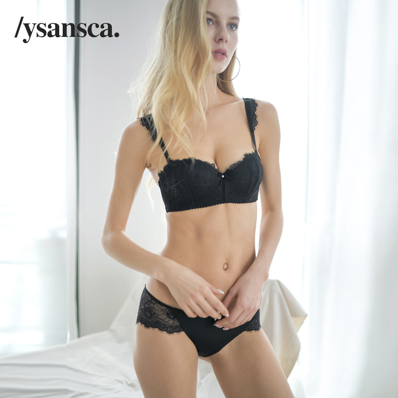 Buy YSANSCA New Flowers Embroidery Bra Panty Sets Brand White Lace Lingerie Set  Bras Women Black Sexy Underwear Set Plus Size