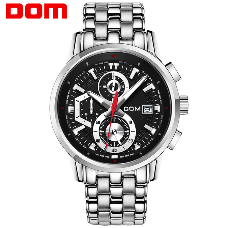 цена на man watch stainless steel DOM Brand sports fashion quartz military chronograph wrist watches men army style M6033D1M